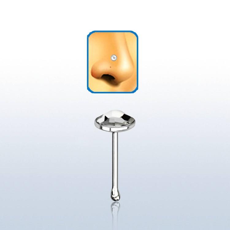"""Näspin i 925-silver 0.6mm """"nose bone"""" med 3mm klar crystal"""