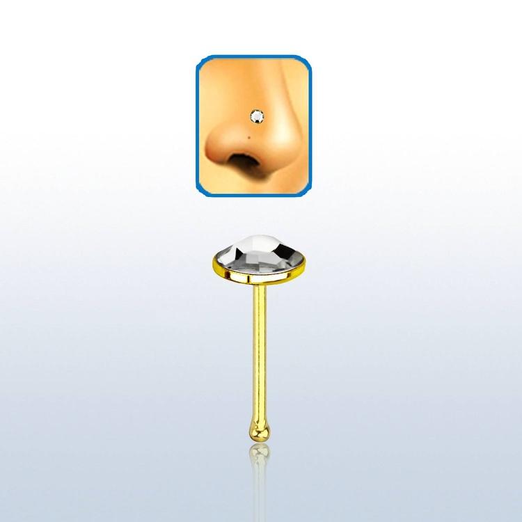 """Näspin i guldpläterad 925-silver 0.6mm """"nose bone"""" med 3mm klar crystal"""