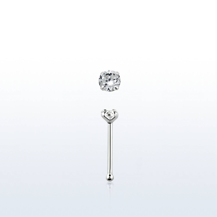 "Näspin i 925-silver 0.6mm ""nose bone"" 1.25mm crystal"