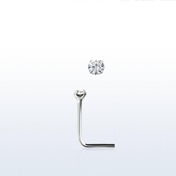 "Näspin i 925-silver 0.6mm ""nose stud"" 1.25mm crystal"