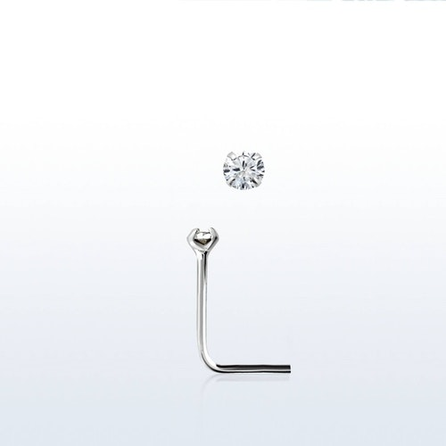 "Näspin i 925-silver 0.6mm ""nose stud"" 1.25mm crystal"