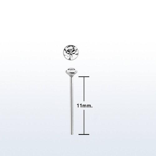 """Näspin i 925-silver 0.6mm """"böj själv"""" 1.3mm crystal"""