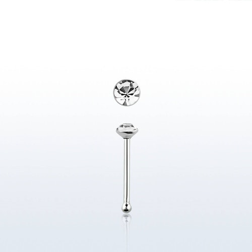 "Näspin i 925-silver 0.6mm ""nose bone"" 1.25mm crystal"
