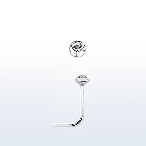 "Näspin i 925-silver 0.6mm ""nose stud"" 1.3mm crystal"