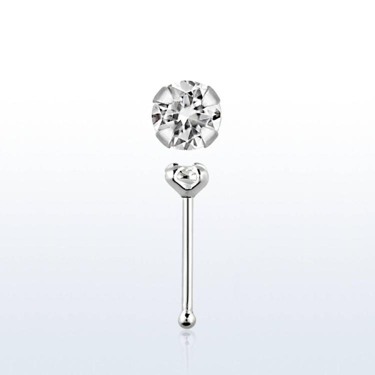 "Näspin i 925-silver 0.6mm ""nose bone"" 2.5mm crystal"