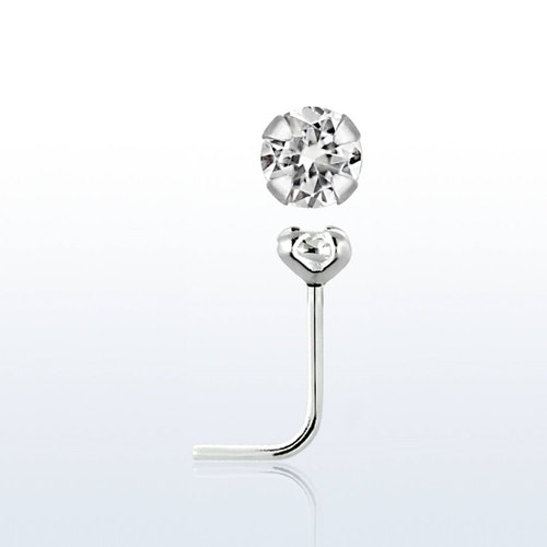 "Näspin i 925-silver 0.6mm ""nose stud"" 2.5mm crystal"