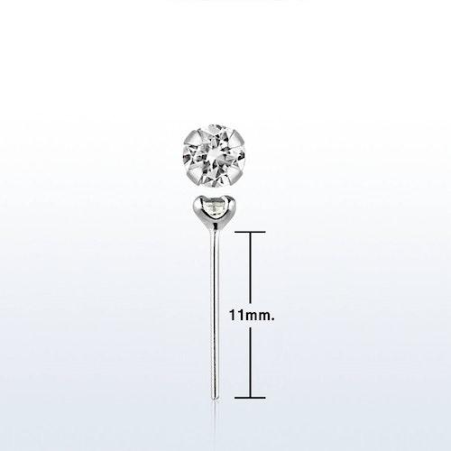 """Näspin i 925-silver 0.6mm """"böj själv"""" 2.5mm crystal"""