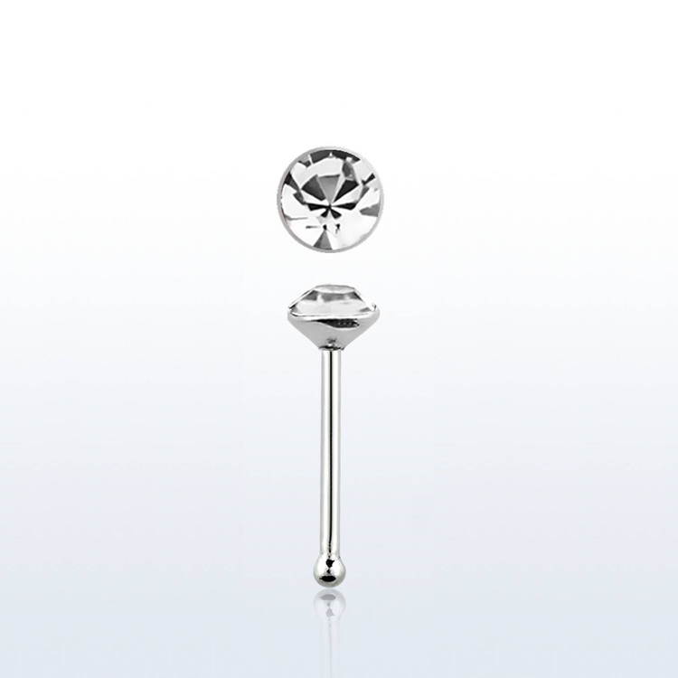 "Näspin i 925-silver 0.6mm ""nose bone"" 2.5mm crystal"