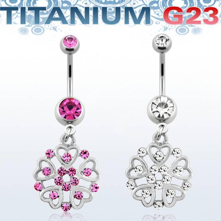 Titanium Navelsmycke - Sköld med crystals