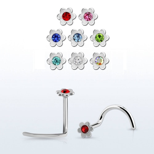 "Nässmycke ""Nose Screw"" 0.8mm - blomma med crystal"