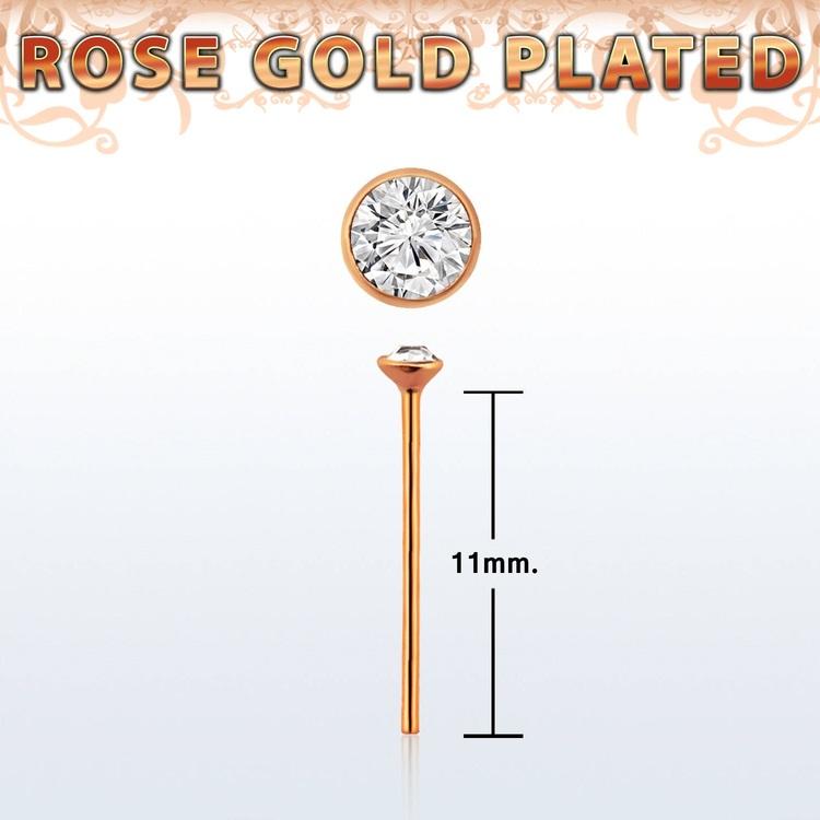 """Näspin 0.6mm i roséguldpläterad 925-silver """"böj själv"""" med 1.5mm crystal"""