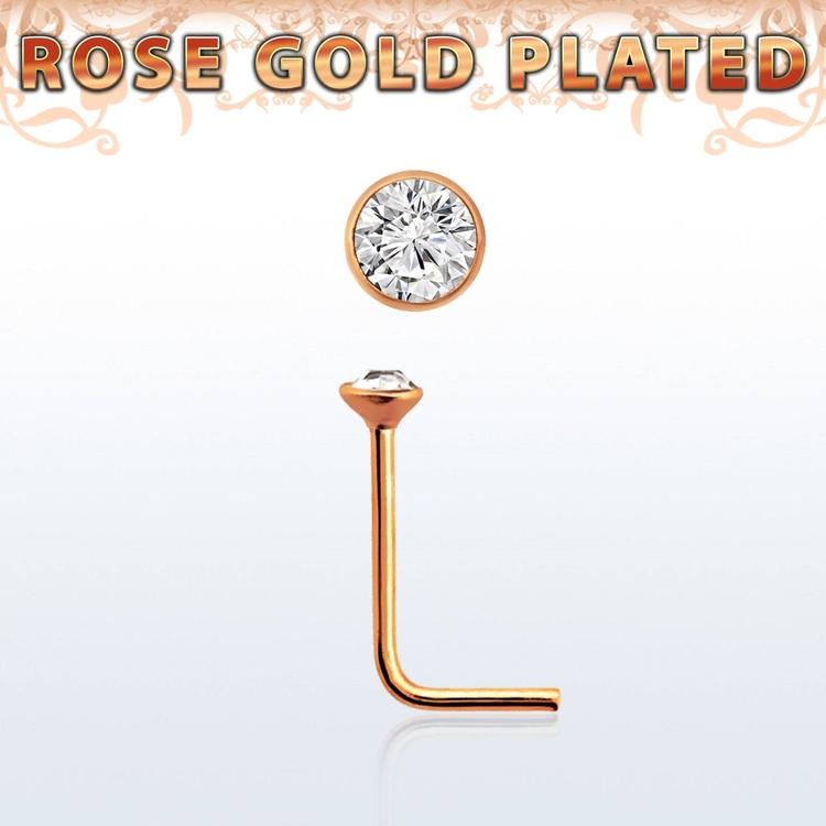 """Näspin 0.6mm i roséguldpläterad 925-silver """"nose stud"""" med 1.5mm crystal"""