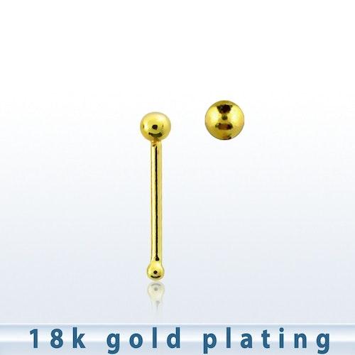 """Näspin 0.6mm i guldpläterad 925-silver """"nose bone"""" med 1.5mm boll"""