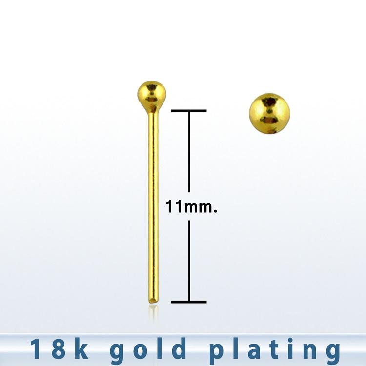 """Näspin 0.6mm i guldpläterad 925-silver """"böj själv"""" med 1.5mm boll"""