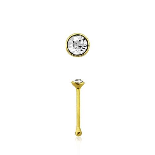 """Näspin 0.6mm i guldpläterad 925-silver """"nose bone"""" med 1.5mm crystal"""