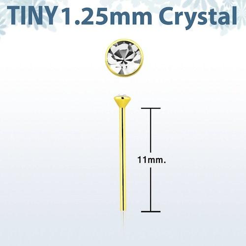 """Näspin 0.6mm i guldpläterad 925-silver """"böj själv"""" med 1.25mm crystal"""