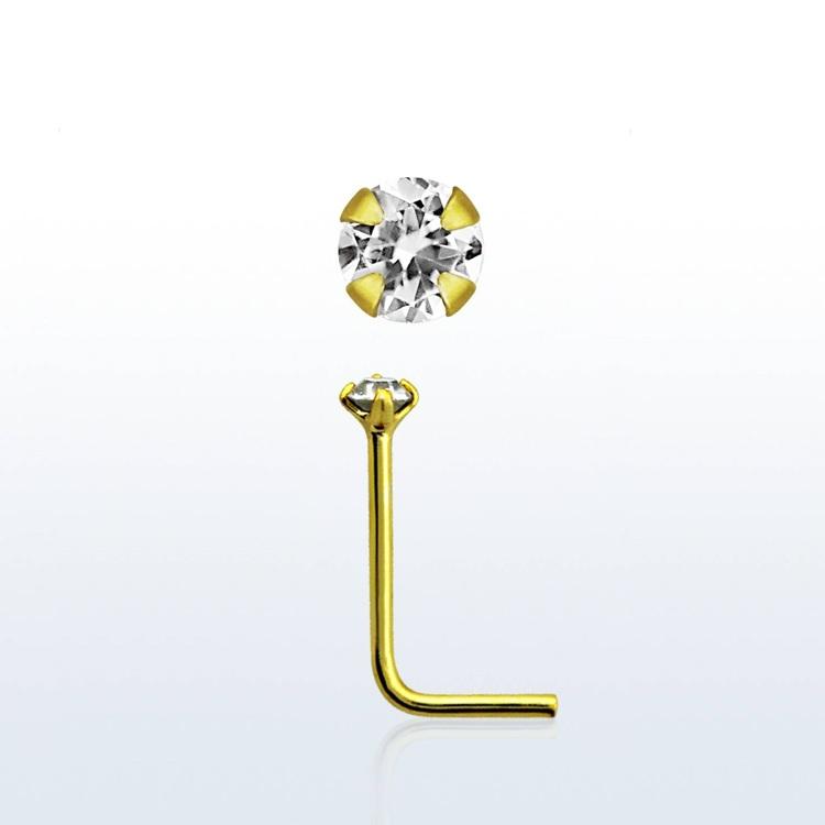 """Näspin 0.6mm i guldpläterad 925-silver """"nose stud"""" med 1.5mm CZ"""
