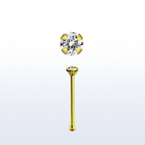 """Näspin 0.6mm i guldpläterad 925-silver """"nose bone"""" med 1.5mm CZ"""