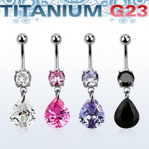Titanium Navelsmycke - Päronformad Cubic Zirconia