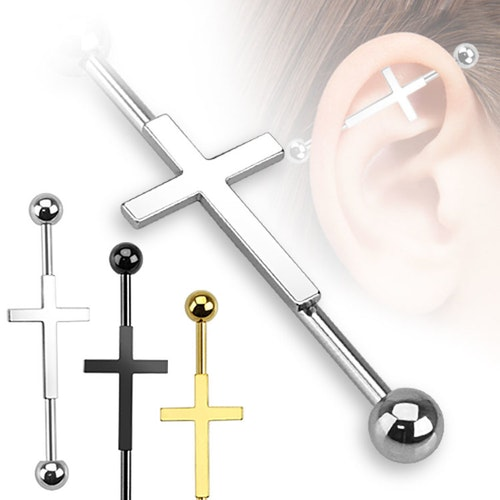 Industrial Barbell 1.6mm (38mm) med kors
