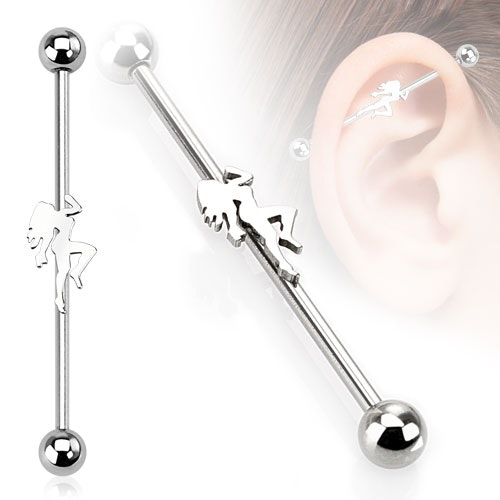 Industrial Barbell 1.6mm med 5mm kulor och strippa