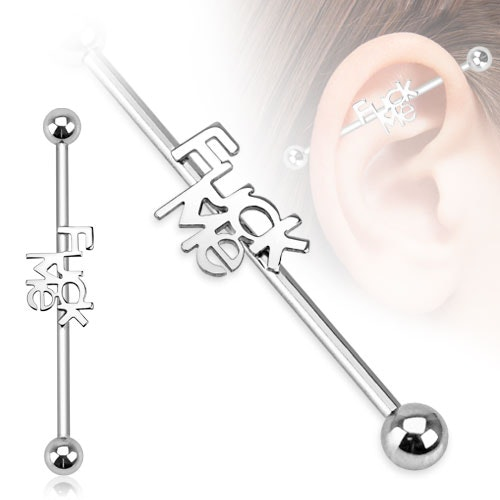 "Industrial Barbell 1.6mm med 5mm kulor och text ""Fuck me"""