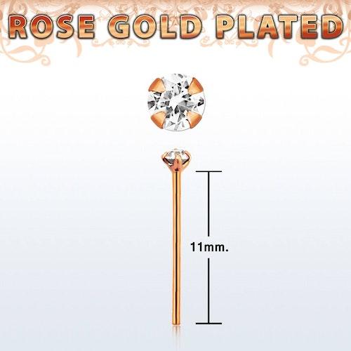 """Näspin 0.6mm i roséguldpläterad 925-silver """"böj själv"""" med 1.5mm klar crystal"""