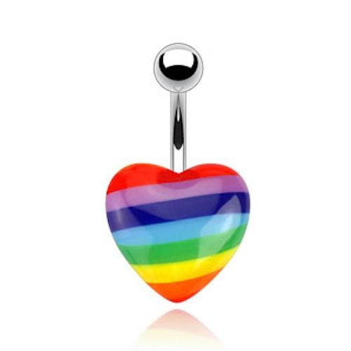 Navelsmycke - Regnbågsfärgat hjärta