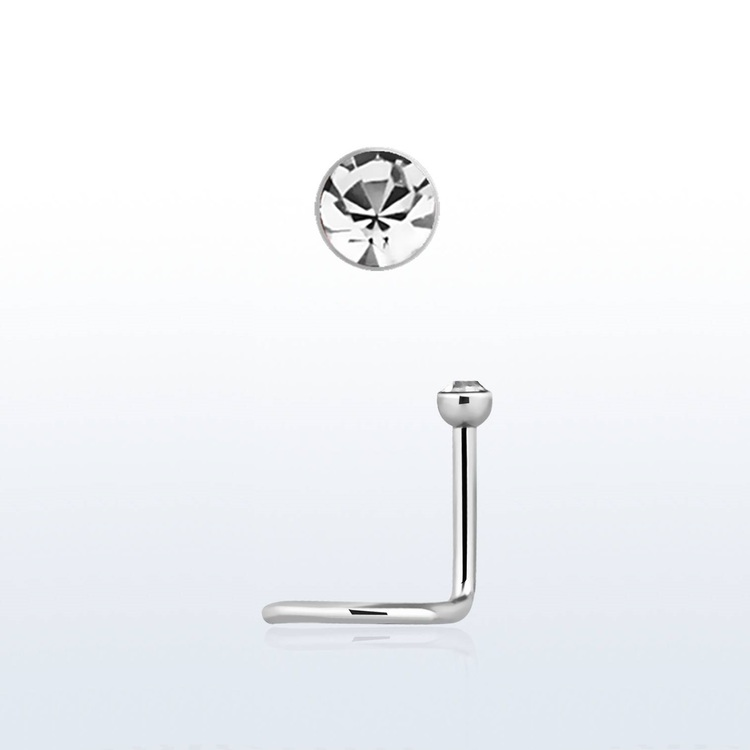 "Näspin ""Nose Screw"" 0.8mm med 2mm klar crystal"