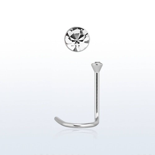 "Näspin ""Nose Screw"" 1mm med 2mm ""bezel-set"" klar crystal"
