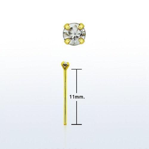 """Näspin 0.6mm i guldpläterad 925-silver """"böj själv"""" med 1.5mm crystal"""