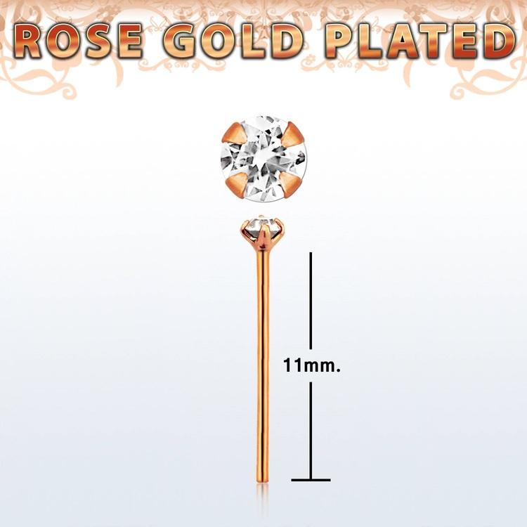 """Näspin 0.6mm i roséguldpläterad 925-silver """"böj själv"""" med 1.5mm klar CZ"""