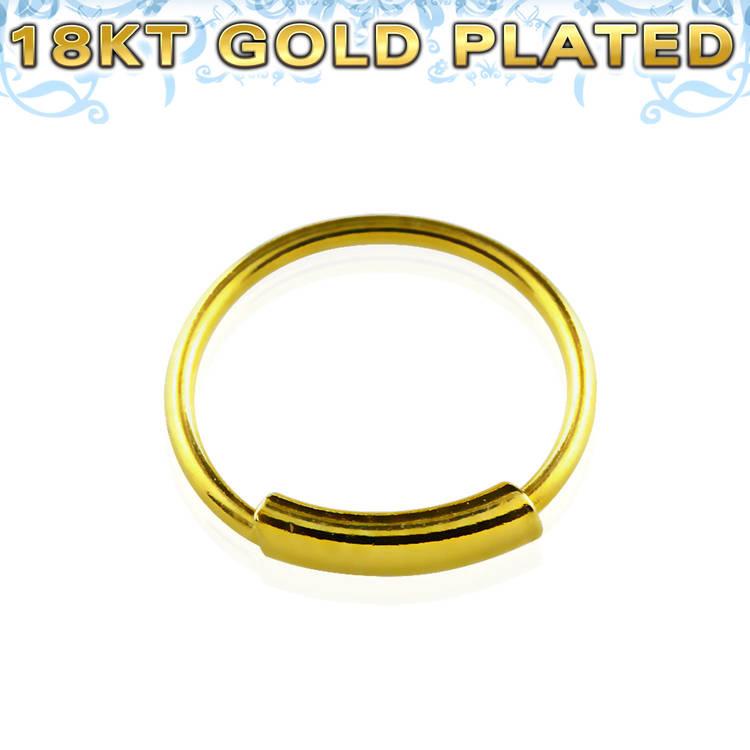 Näsring / sömlös ring i 925 silver med guldplätering 8mm