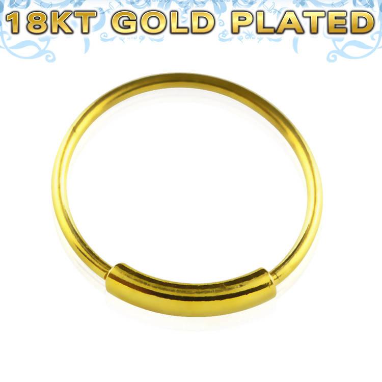 Näsring / sömlös ring i 925 silver med guldplätering 12mm