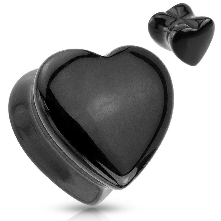 Hjärtformad stenplugg - Black Onyx