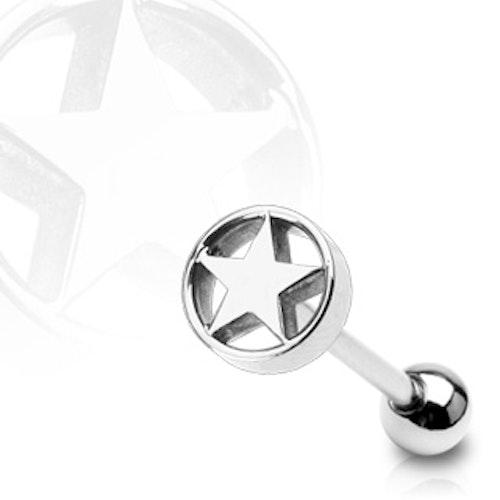 Barbell / Tungstav 1.6mm - Stjärna i cylinder