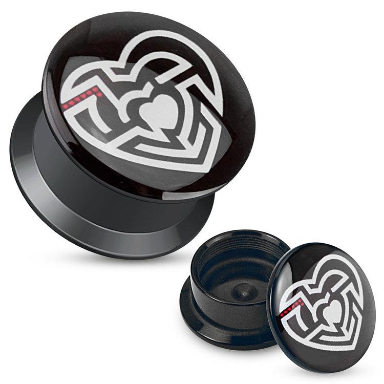 Akrylplugg - Labyrint/hjärta
