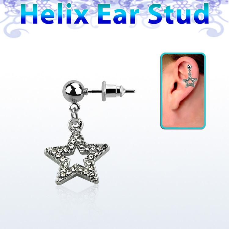 Helix örhänge - stjärna med crystal