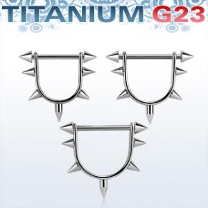 Bröstsköld med barbell i titanium och nitar