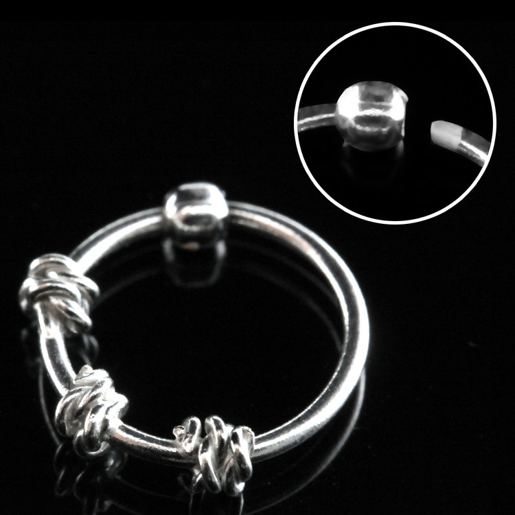 "Näsring ""Nose hoop"" i 925 silver 3 twisted wire-design"
