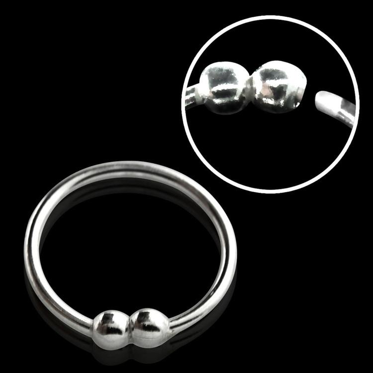 "Näsring ""Nose hoop"" i 925 silver 2 kulor-design (10mm)"