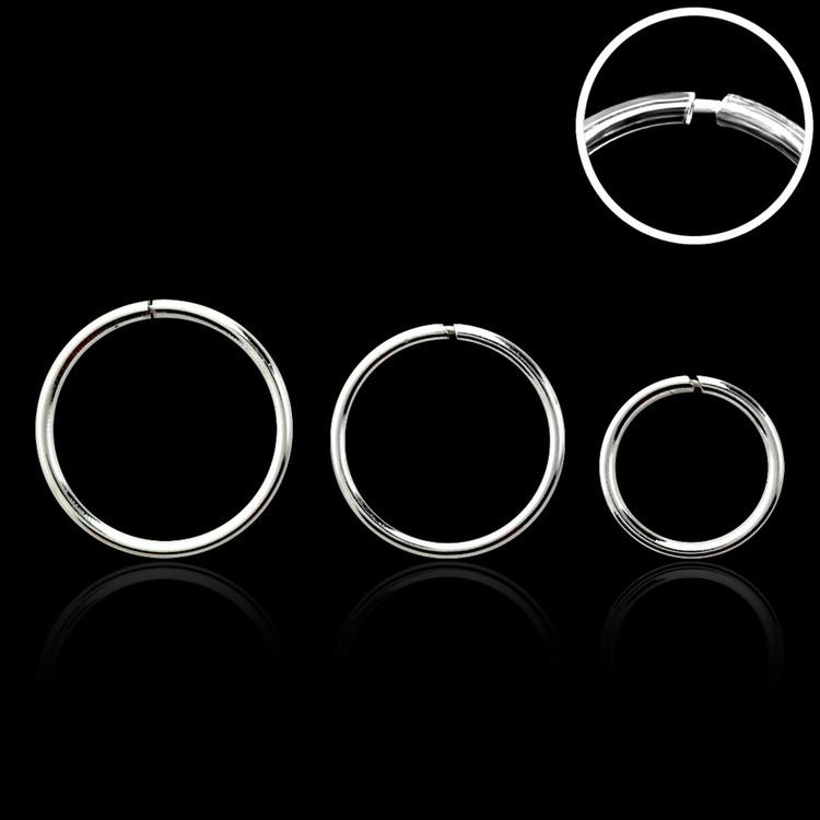 """Sömlös """"nose hoop"""" ring i 925 silver (1mm)"""