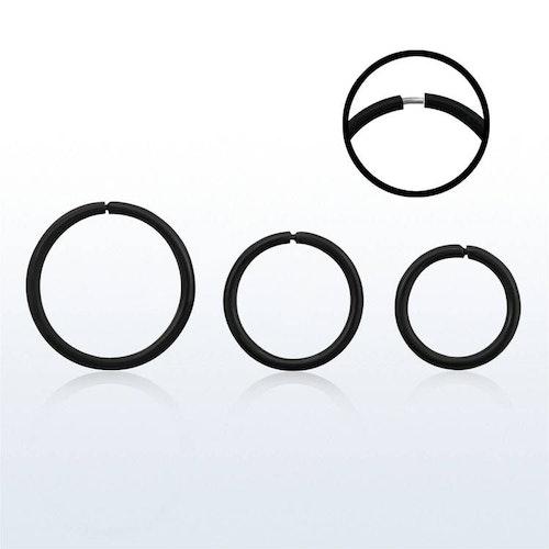 """Svartpläterad sömlös """"nose hoop"""" ring i 925 silver (1mm)"""
