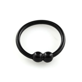 """Svartpläterad sömlös """"nose hoop"""" ring i 925 silver med dubbel boll (8mm)"""