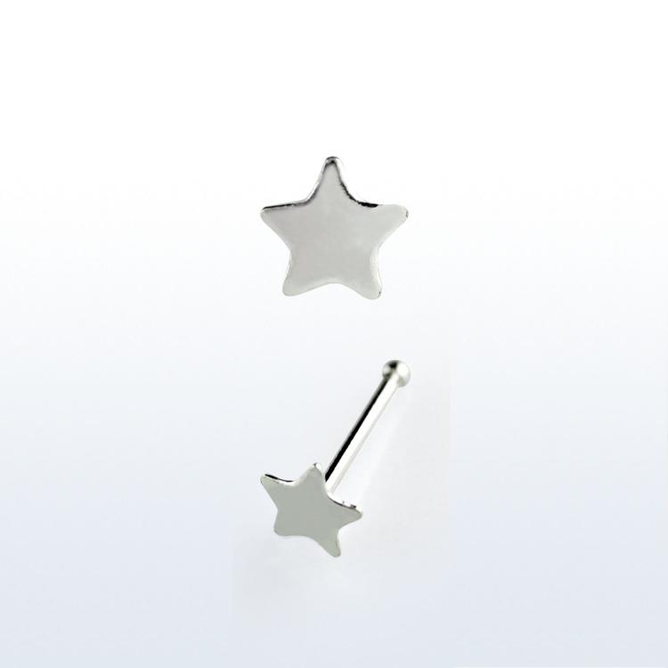 """Näspin """"Nose bone"""" 925-silver 0.6mm med 3mm stjärna"""
