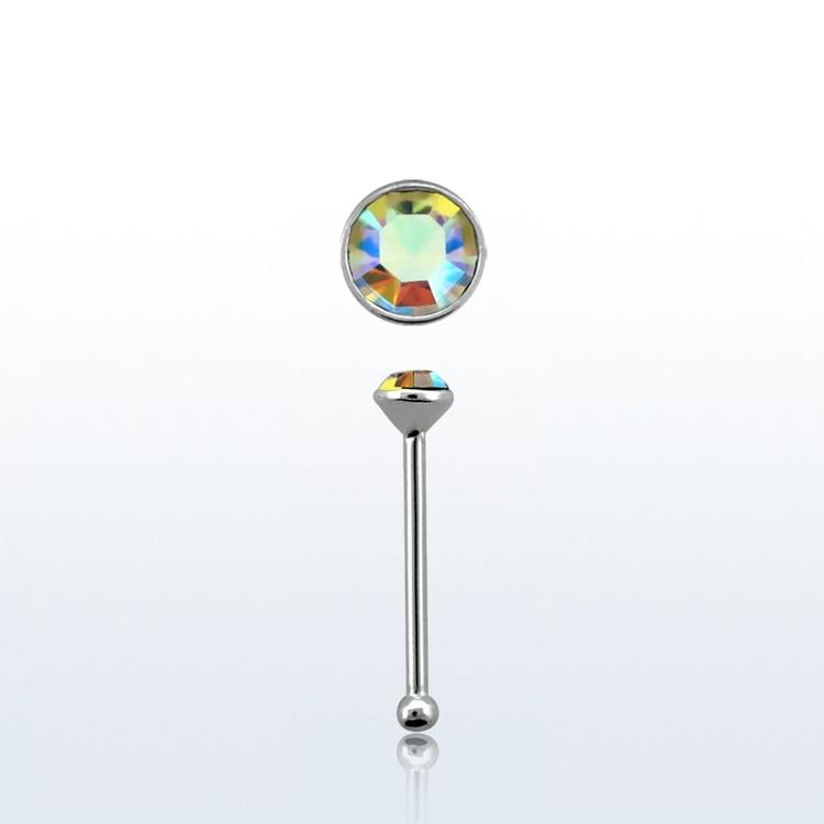 """Näspin """"Nose bone"""" 925-silver 0.6mm med 1.5mm flerfärgad crystal"""