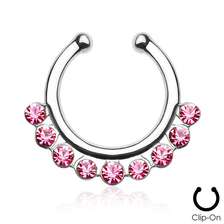 Fake septum / septum hanger med rosa crystals