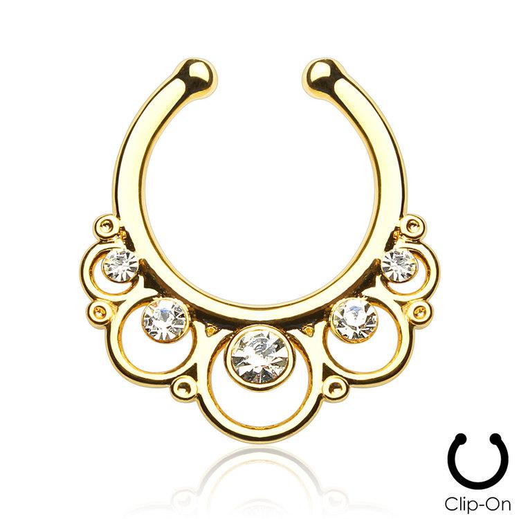 Fake septum / septum hanger guld med klara crystals