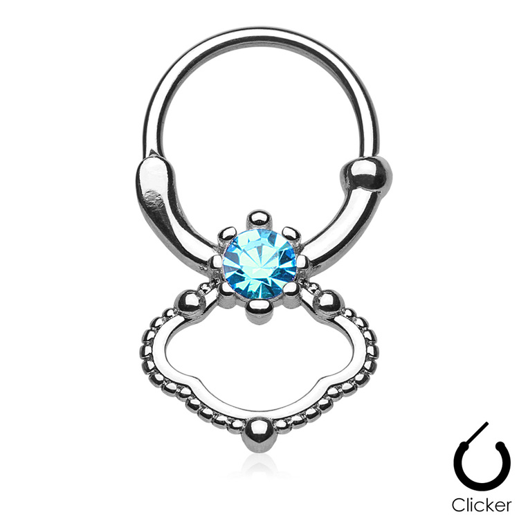 Septum clicker 1.2mm - 4mm aqua cubic zirconia