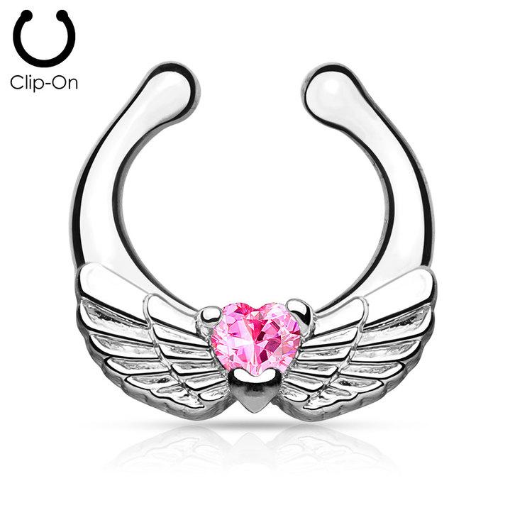 Septum fake / septum hanger - änglavingar med rosa crystal